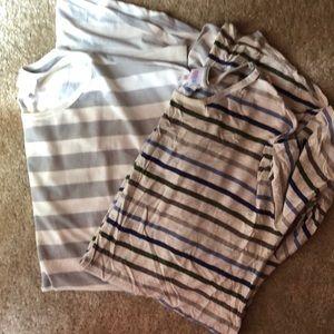 Bundle 2 LulaRoe Irma Striped Tunic Shirts